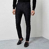 Pantalon skinny habillé à motif jacquard géométrique noir