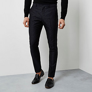 Black geo jacquard skinny smart pants