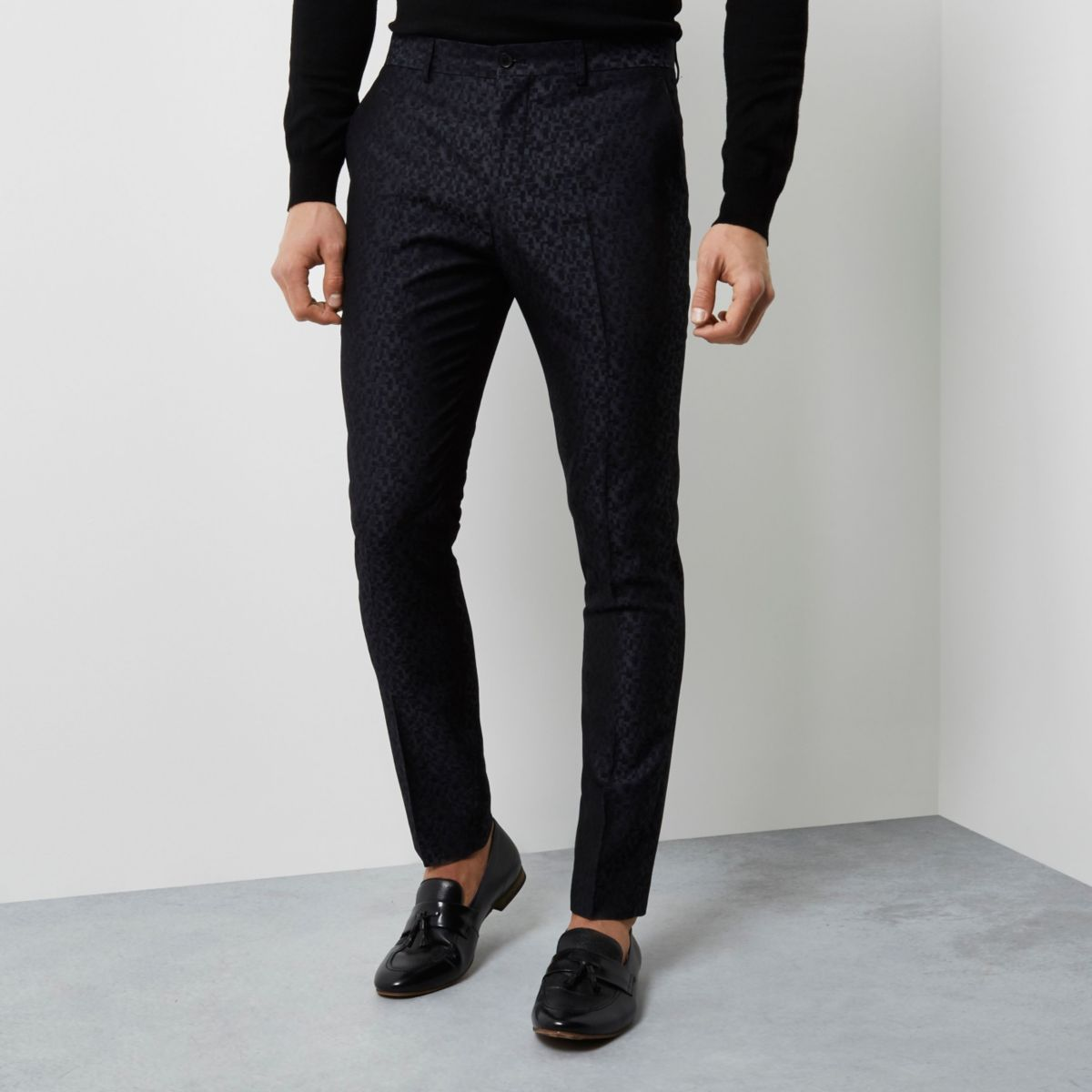Black geo jacquard skinny smart trousers