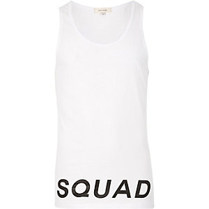 White squad print tank