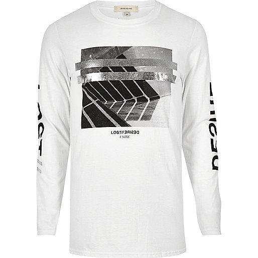 White metallic print long sleeve T-shirt