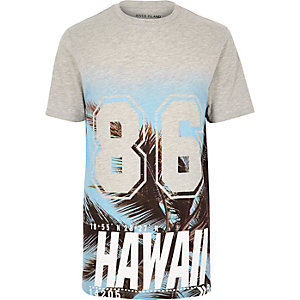 Grey hawaiian print longline T-shirt