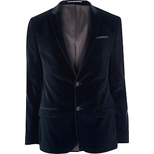 Blue velvet skinny suit jacket