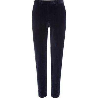 Blauw fluwelen skinny-fit pantalon