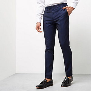 Blue pindot skinny fit smart pants