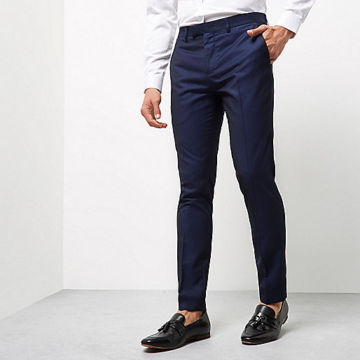 Blue pindot skinny fit smart pants