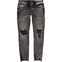 Black faded raw hem Sid skinny jeans