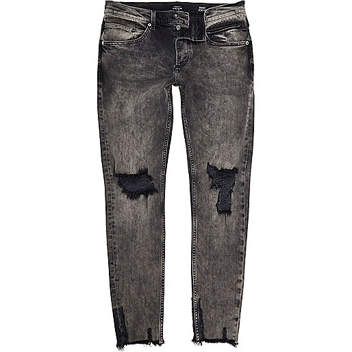 Black faded raw hem Sid skinny jeans - jeans - sale - men