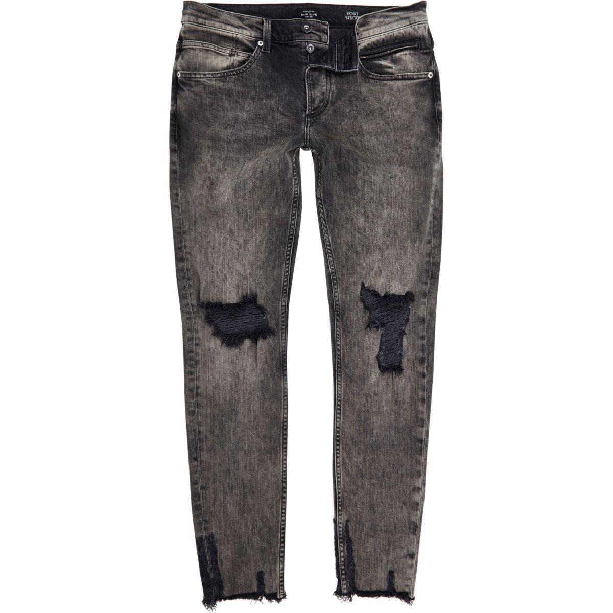Black faded raw hem Sid skinny jeans