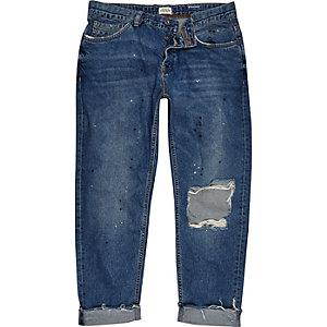Dean blue wash ripped rechte jeans