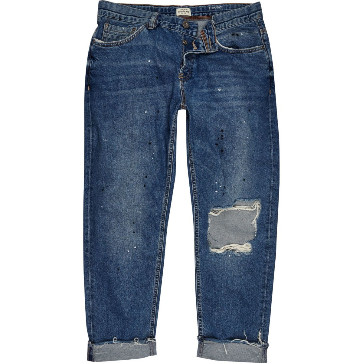 Blue wash ripped Dean straight jeans