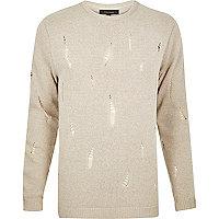 Stone distressed knit jumper