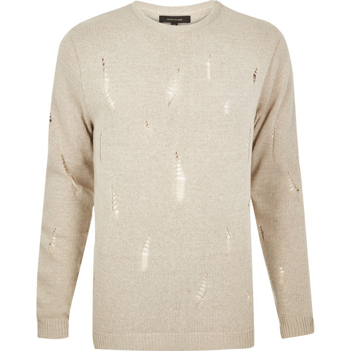 Stone distressed knit sweater