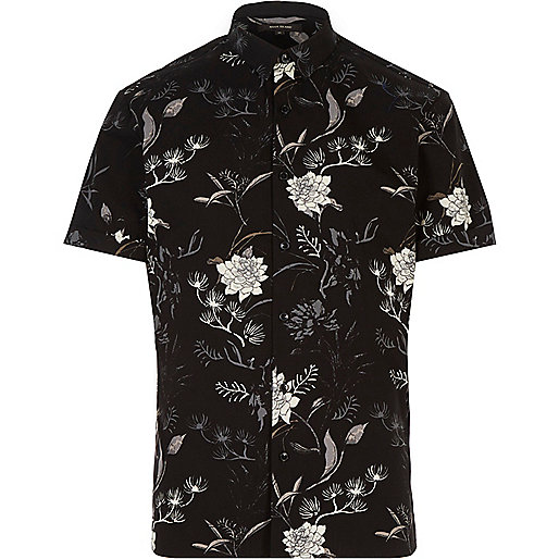Black oriental print slim fit shirt