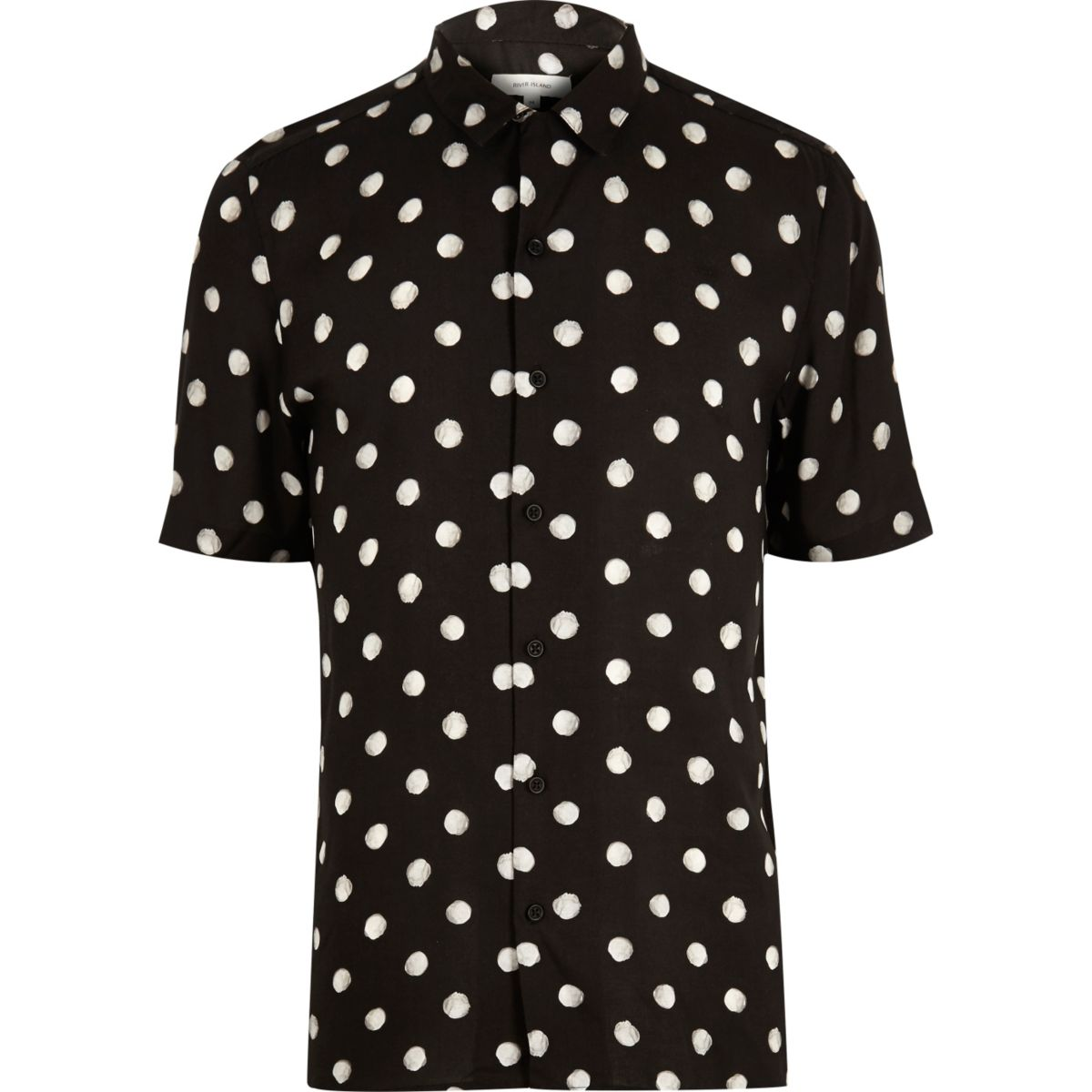 Schwarzes, kurzärmliges Hemd