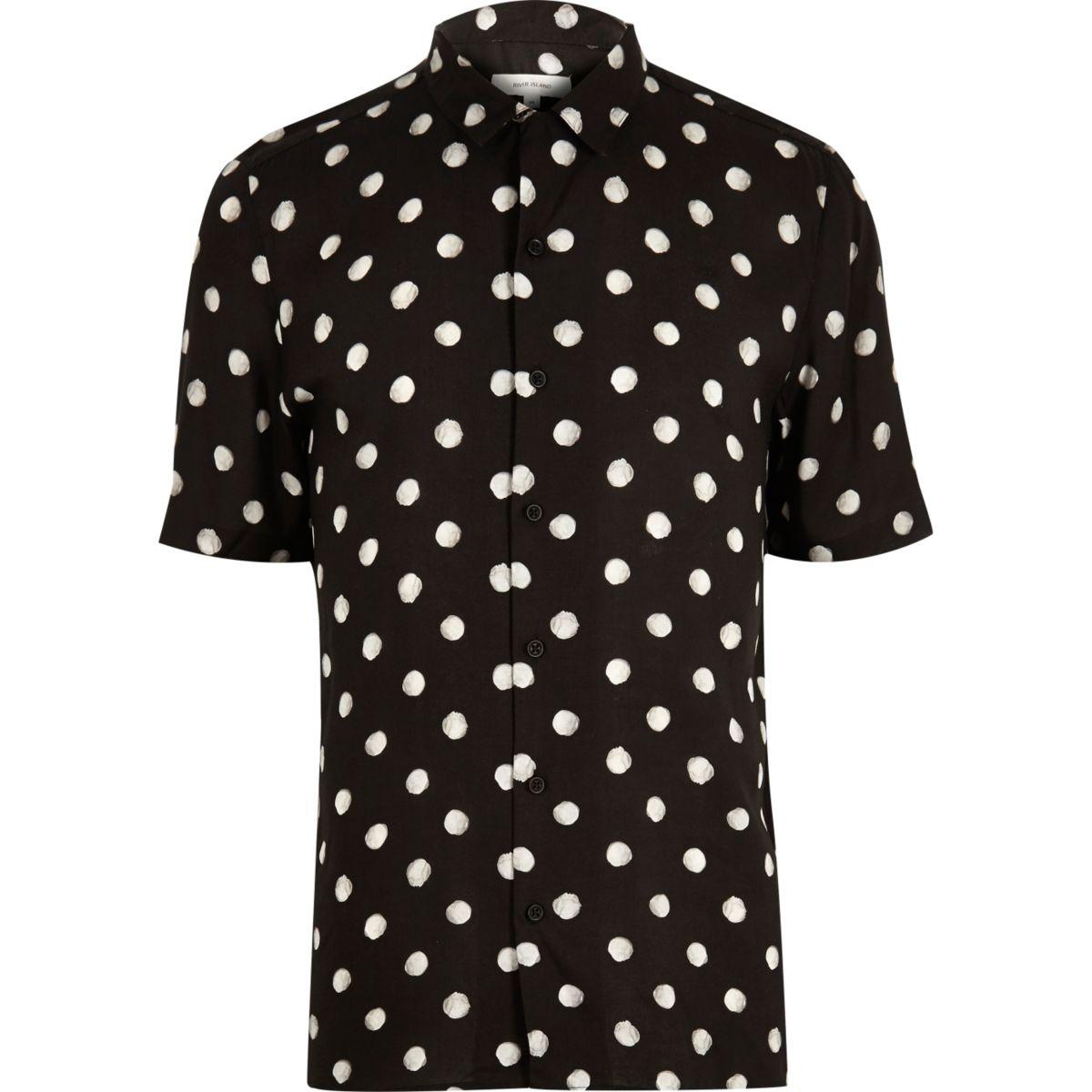 Zwart gestippeld overhemd met korte mouwen