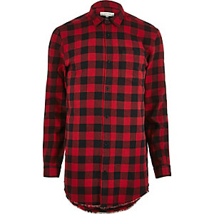 Red casual check longline shirt