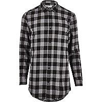 Chemise longue à carreaux grise