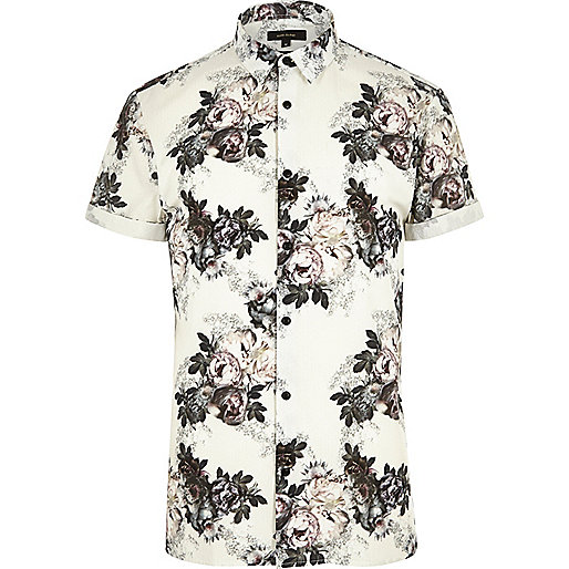 Ecru floral print smart slim fit shirt