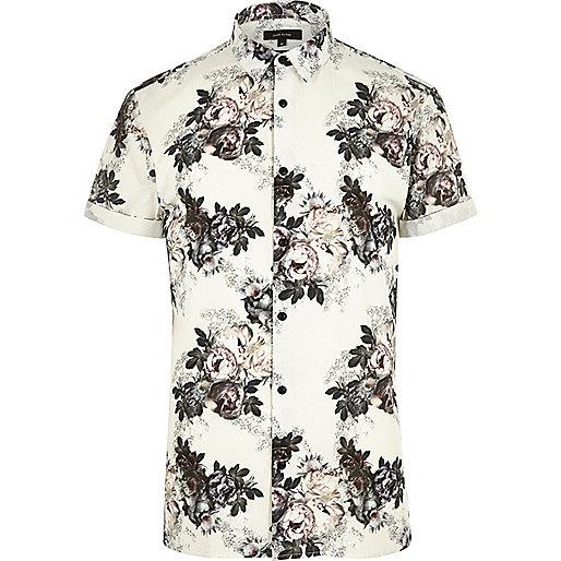 Schmales, elegantes Hemd mit Blumen in Ecru
