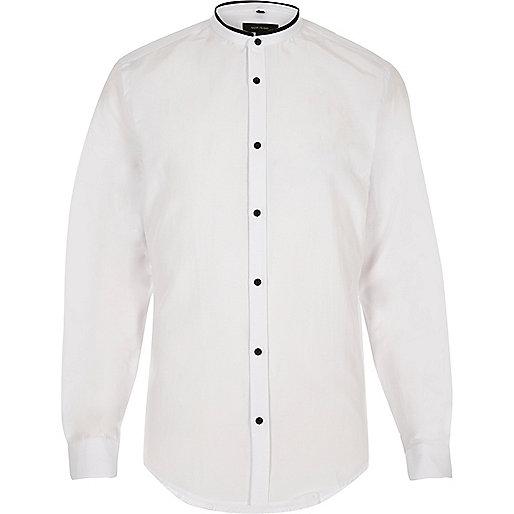 White smart slim fit grandad shirt