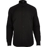 Black smart slim fit cotton shirt