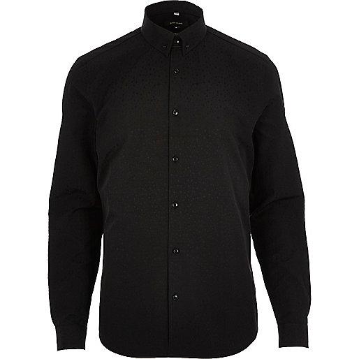 Chemise en coton noire habillée cintrée