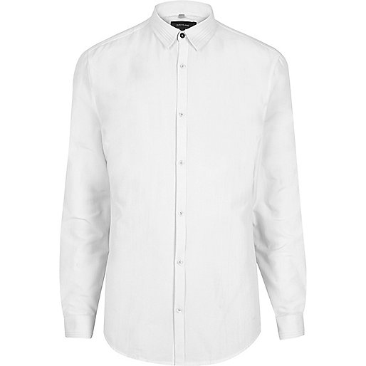 White pleated collar smart slim fit shirt
