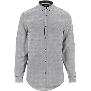 Grey smart check flannel slim fit shirt