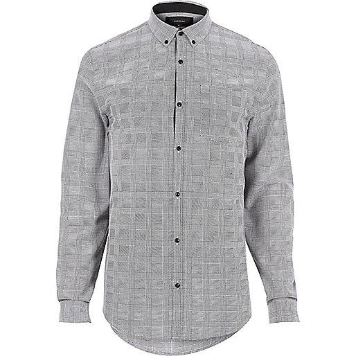 Grau kariertes, schmales Flannel-Hemd