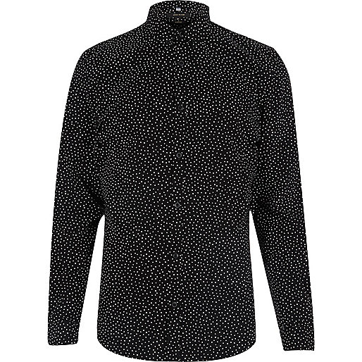 Black smart slim fit spotty shirt