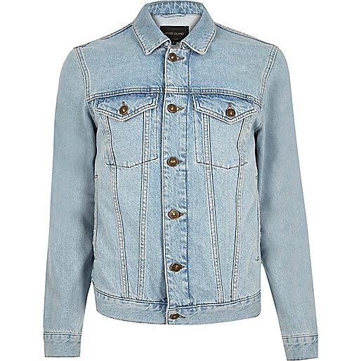 Bleach back print denim jacket