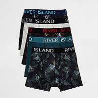 Blue Hawaii print hipster boxers pack