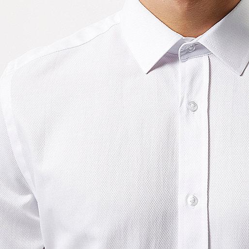 Chemise blanche texturée cintrée habillée