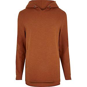 Orange raw edge longline hoodie