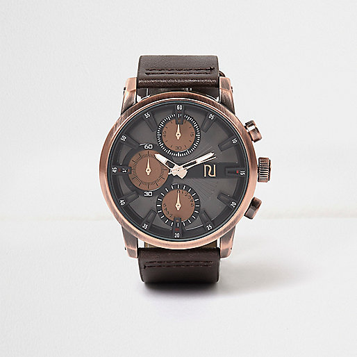 Dark brown aesthetic dial watch