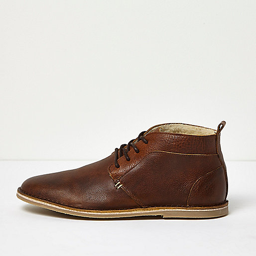 Brown borg lined leather desert boots