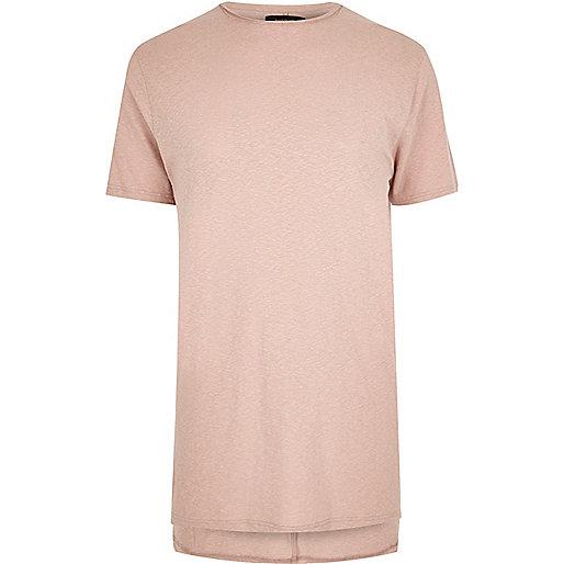 T-shirt long ras du cou rose