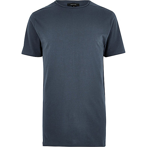 Blue longline crew neck T-shirt