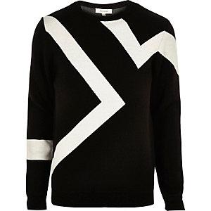 Black lightning print jumper