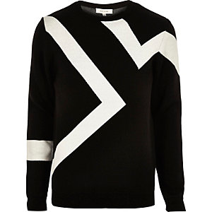 Black lightning print sweater