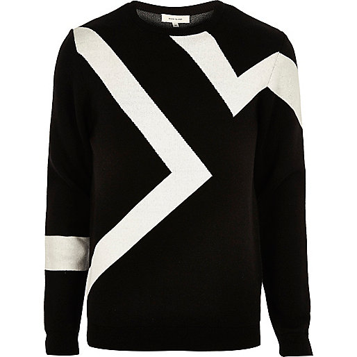 Black lightning print sweater