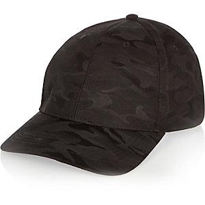 Zwarte pet met camouflageprint