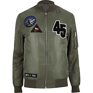 Green badge bomber jacket