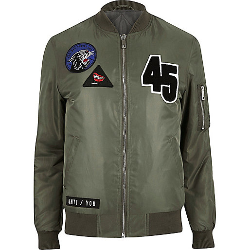 Green badge bomber jacket