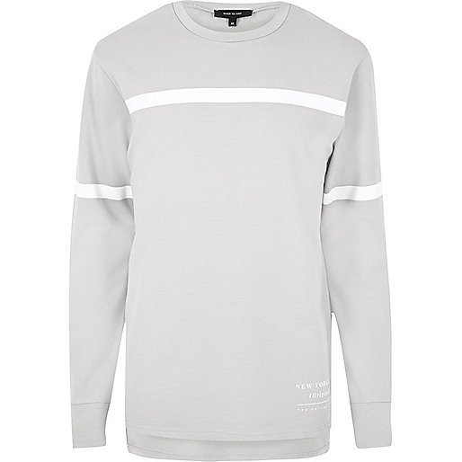 Grey stripe block sweatshirt