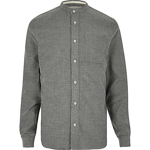 Grey casual flannel grandad shirt