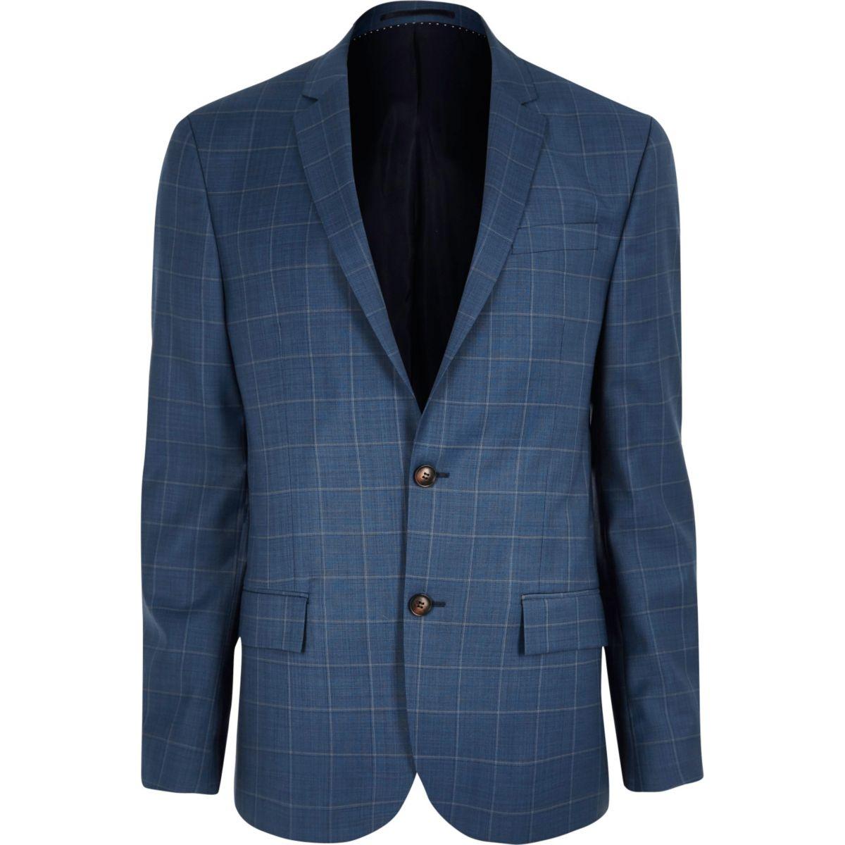 Veste de costume cintrée à carreaux bleue