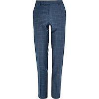 Pantalon de costume slim bleu à carreaux