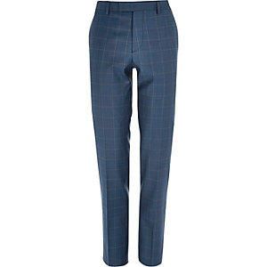 Blue check slim suit trousers